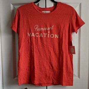 "NWT ban.do ""permanent vacation"" orange t-shirt"